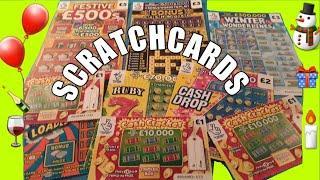 """WOW! CRACKING Scratchcard game""""FESTIVE £500s""""""""CASHWORD""""WONDERLINES""""""""RUBY 7s""""£100 LOADED""""CASH CRACKER"""