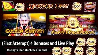 (First Attempt) Dragon Link Golden Century and Happy & Prosperous by Aristocrat 4 Bonuses, Live Play
