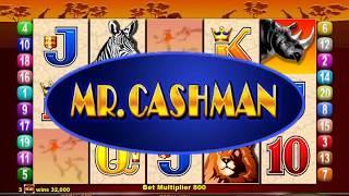 MR CASHMAN AFRICAN DUSK Penny Video Casino Game with an CASHMAN ADDS CRDEDITS BONUS