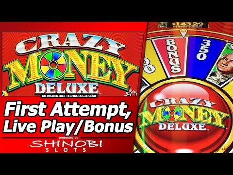 Crazy Money Deluxe Slot - First Attempt with 5 Wheel Bonuses in New Incredible Technologies Slot