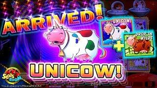 UNICOW!!! CRAZY $1000+ TO GO!!! Invaders Return From The Planet Moolah!!! 1c WMS Slots