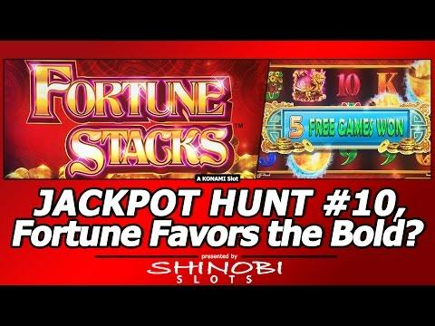 Jackpot Hunt #10 - Fortune Favors the Bold?  Live Play/Free Spins in Fortune Stacks by Konami