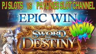 EPIC WIN • SWORD OF DESTINY •  PJ SLOTS VS PAYLINES SLOT CHANNEL • Angel Blade