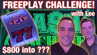 $800 Freeplay CHALLENGE @ Harrah's Tahoe!! | WHEEL OF FORTUNE | CASH MACHINE | WINNING CHALLENGE! •