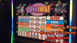 Super Lucky $1 2X 3X 4X 5X slot-$5 Max bet-IGT- Group play- Aria Casino- Vegas Birthday Bash
