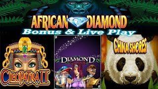 • AFRICAN DIAMOND • CLEOPATRA 1 & 2 • DIAMOND QUEEN • HIGH LIMIT SLOT MACHINE BONUS & LIVE PLAY