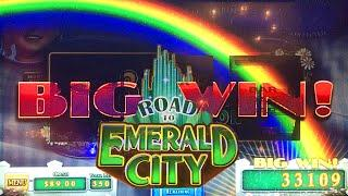 BIG WIN w/ Surprise Glinda Ending! MAX BET - Wizard of Oz Road to Emerald City Slot Machine Bonus