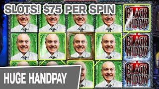 ⋆ Slots ⋆ $75 Spins = My FAVORITE Handpay!!! ⋆ Slots ⋆ Black Widow SLOT MACHINE INSANITY