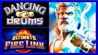 Dancing Drums •••Zeus Unleashed • Ultimate Firelink • The Slot Cats •