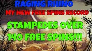 RAGING RHINO 142 FREE SPINS!!!!! MY NEW *PERSONAL* FREE SPINS RECORD!
