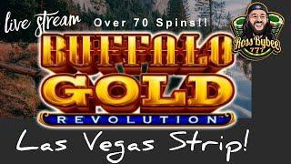 LIVE! Buffalo Gold Revolution Las Vegas Strip Slots! OVER 70 FREE SPINS! 15 Buffalo Head Club?