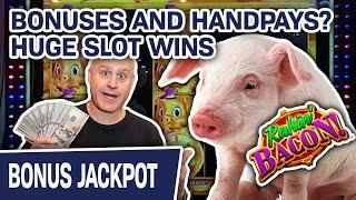 ★ Slots ★ Bonuses AND Handpays? ★ Slots ★ I'm RAKIN' the BACON on This One! HUGE Slot Wins