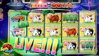 MAX BET HUGE BONUSES!!! on Invaders Return From Planet Moolah 1c Wms Slot in Morongo Casino