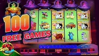 100 Max Bet Free Games!!! on Invaders Return From Planet Moolah 1c Wms Slot Soboba Casino
