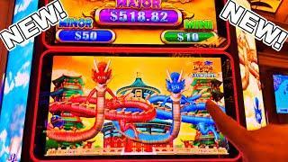 THE ALL NEW DRAGON'S LAW JACKPOTS!!!! - New Las Vegas Rampart Casino Konami Slot Machine Bonus