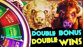BUFFALO GOLD slot JACKPOT and BUFFALO DELUXE slot machine DOUBLE BONUS WINS!