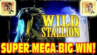Wild Stallion * SUPER MEGA BIG WIN * Slot Machine Bonus HUGE 3x 5x WIN