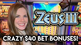 CRAZY $40 Bets On Zeus 3 Slot Machine! How Much Did The BONUSES Pay?