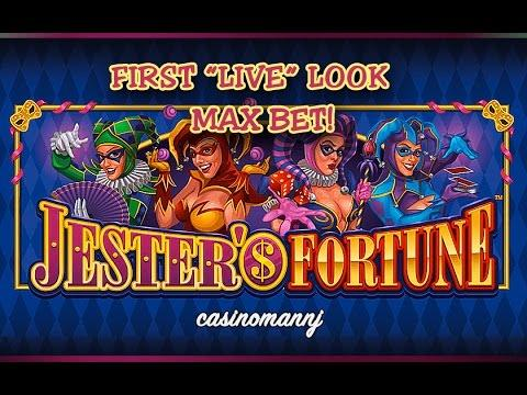 "JESTER'S FORTUNE SLOT - First ""LIVE"" Look - MAX BET! - NEW GAME - Slot Machine Bonus"