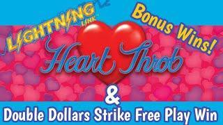 Lightning Link Heart Throb Bonuses | Double Dollars Strike Free Play Win!