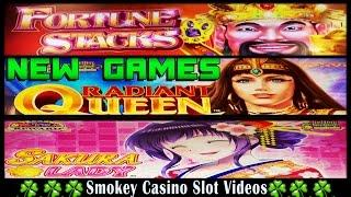 Konami Slots-Small Bonuses-Fortune Stacks, Sakura Lady, Radiant Queen