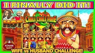 I FINALLY DID IT! HUSBAND vs WIFE CHALLENGE   CHILI CHILI FIRE   MAX BET   SLOT MACHINE  