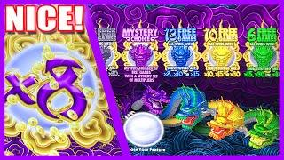 5 DRAGONS GOLD SLOT MACHINE BONUS MYSTERY CHOICE w/ COIN SHOWS