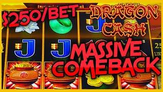 MAX BET $250 Bonus Round on HIGH LIMIT Dragon Cash Link HANDPAY JACKPOT Slot Machine EPIC COMEBACK