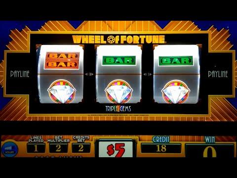 Wheel of Fortune Slot Machine - Triple Gems - $10 Max Bet *LIVE PLAY* Wheel Bonus!