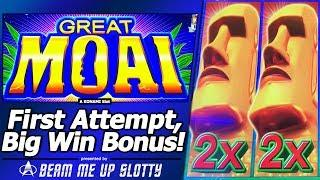 Great Moai Slot - First Attempt, Free Spins Bonus and Line Hit