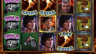 RAMBO: FIRST BLOOD Video Slot Casino Game with a RETRIGGERED MINE SHAFT FREE SPIN BONUS