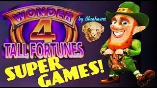 WONDER 4 TALL FORTUNES slot machine WILD LEPRE'COINS slot SUPER GAMES BONUS WINS!