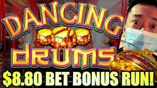 WHOA!! $8.80 BET BONUS RUN! THE DRUMS KEEP DRUMMIN' ★ Slots ★ DANCING DRUMS Slot Machine (SG)