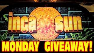 MONDAY GIVEAWAY!  Inca Sun - Classic Slot Machine Nice Win - All 5 Bonus Symbols!