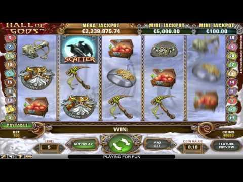 Free Hall of Gods slot machine by NetEnt gameplay ★ SlotsUp