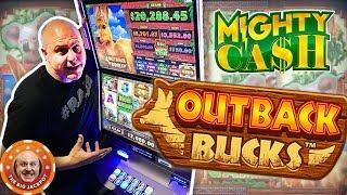 •24 FREE GAMES RE-TRIGGER •MIGHTY WIN$ on Mighty Cash Outback Bucks!