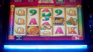 Konami Mayan Chief slot machine Nickel Denom  Free spin bonus