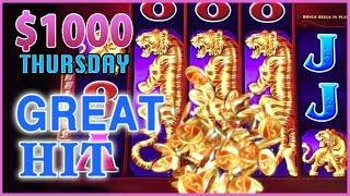 • $1,000 on Tree of Wealth • THOUSAND Dollar Thursdays  • High Roller Bet Dancing Drums