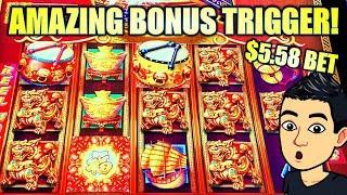 AMAZING BONUS TRIGGER BIG WIN!! $5.58 BET GOLD DRUM & FU DOGS! DANCING DRUMS EXPLOSION Slot Machine