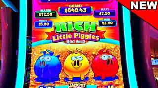 THE ALL NEW RICH LITTLE PIGGIES HOG WILD!!!! - New Las Vegas Casino Slot Machine Comeback Bonus
