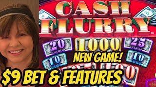 NEW-$9 BET BONUS & RESPIN-CASH FLURRY SLOT MACHINE
