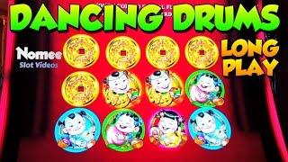 DANCING DRUMS Slot Machine - Long Play with Bonuses and Many Progressives