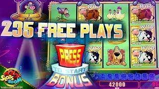 235 Free Games!!! Max Bet BIG WIN on Invaders Return From Planet Moolah 1c Wms Slot