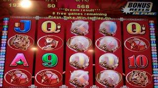 50 Dragons Slot Machine Bonus + Retrigger - 15 Free Games Win with More Wild Pearls