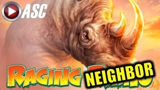 RAGING RHINO | WMS - NICE RHINO LINE HIT +1 EXCITED NEIGHBOR Slot Machine Win