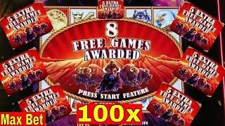 Buffalo STAMPEDE Slot Machine Max Bet BONUS  •BIG WIN• w/Ton of Retriggers   Live Slot Play
