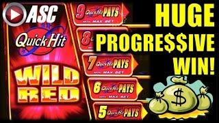 *HUGE PROGRESSIVE WIN* QUICK HIT WILD RED  |  Bally - MAX BET Slot Machine Bonus & Jackpot!