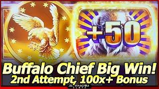 Buffalo Chief Slot Machine - BIG WIN Free Spins!  100x+ Bonus in 2nd Attempt in Las Vegas