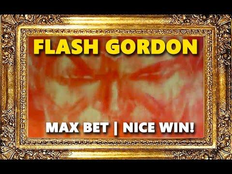 FLASH GORDON SLOT - *Nice Win* - MAX BET! - Slot Machine Bonus
