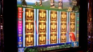 Rapa Nui Riches great picture of a slot machine line hit.